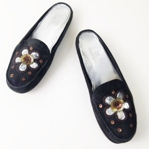 Cole Haan | Embroidered Sequin Odera Suede Mules